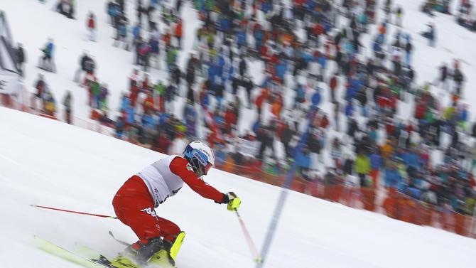 Thaler of Italy competes during men's Alpine Skiing World Cup slalom in Kitzbuehel