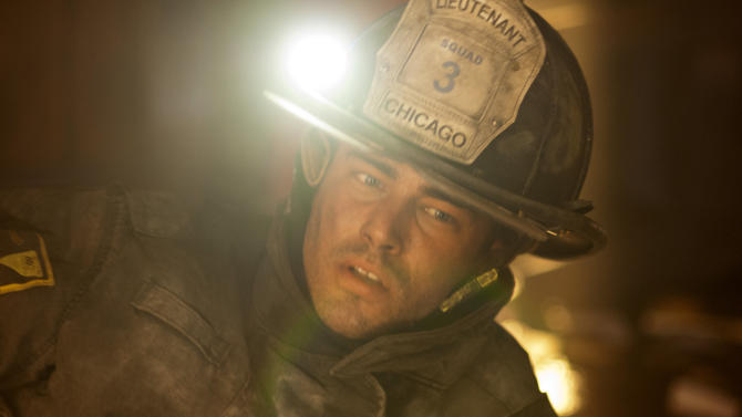 """This image released by NBC shows Taylor Kinney as Kelly Severide in a scene from """"Chicago Fire,"""" premiering Oct. 10 at 10 p.m. EST on NBC. (AP Photo/NBC)"""