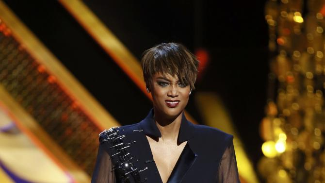 Show host Tyra Banks speaks at the 42nd Annual Daytime Emmy Awards in Burbank