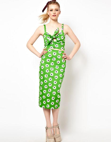 ASOS Pencil Skirt in Retro Daisy print, $54.26 and ASOS Bra Top in Retro Daisy Print, $42.39 both at asos.com