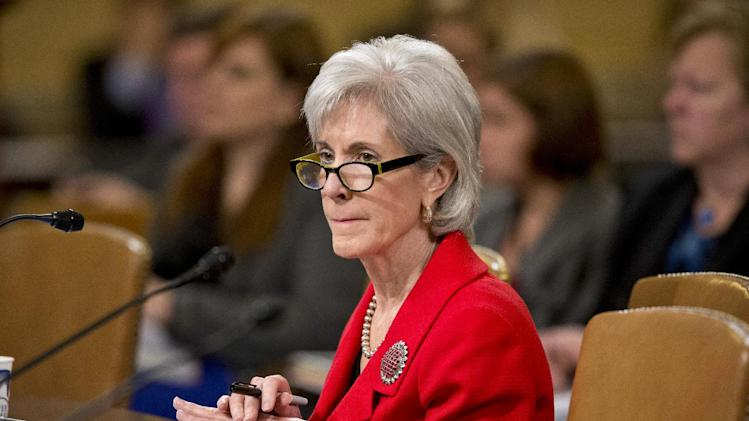 """In this April 12, 2013, file photo, Health and Human Services Secretary Kathleen Sebelius testifies before the House Ways and Means Committee on President Barack Obama's budget proposal for fiscal year 2014, on Capitol Hill in Washington. Three weeks after the nation's new health care law went into effect, President Obama said there was """"no excuse"""" for the cascade of computer problems that have marred the rollout of a key element in his health care law, but declared he was confident the administration would be able to fix the issues. (AP Photo/J. Scott Applewhite, File)"""