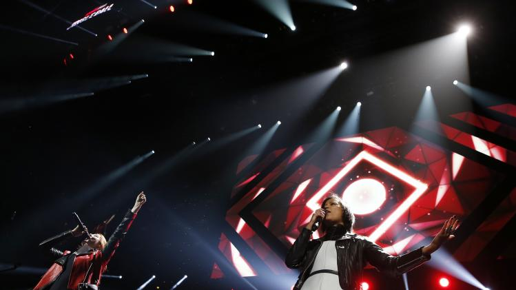 "Swedish duo ""Icona Pop"" perform during the KISS FM Jingle Ball in Chicago"