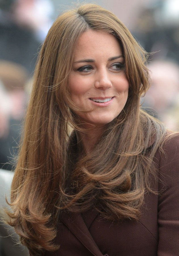 Kate Middleton showed off her post-holiday locks today © Rex At her