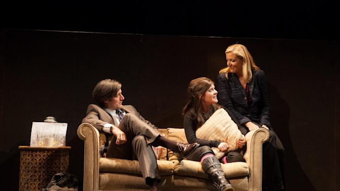 "This theater image released by Boneau/Bryan-Brown shows, from left, Gareth Saxe, Madeleine Martin and Mary McCann, in a scene from Simon Stephens' drama, ""Harper Regan,"" performing off-Broadway at the Atlantic Theater Company in New York. (AP Photo/Boneau/Bryan-Brown, Kevin Thomas Garcia)"