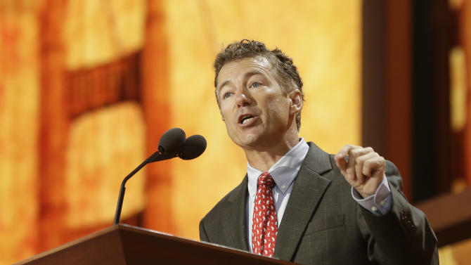 Sen. Rand Paul, R-Ky., addresses the Republican National Convention in Tampa, Fla., on Wednesday, Aug. 29, 2012.  (AP Photo/Charles Dharapak)
