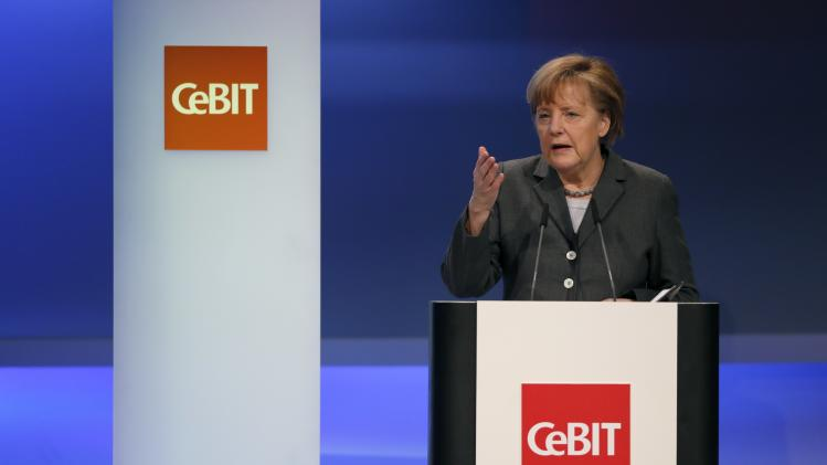 German Chancellor Merkel speaks during the opening ceremony of the Hanover technology fair Cebit