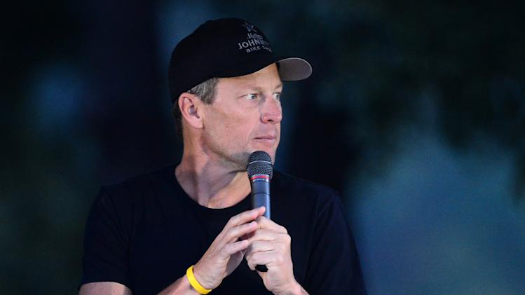 Lance Armstrong speaks during a public event in Austin, Texas, on October 21, 2012