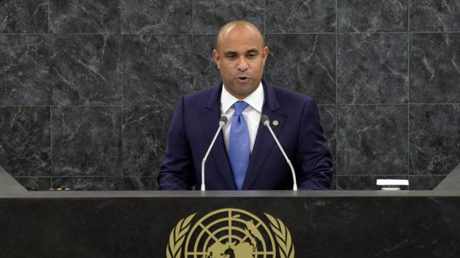 FILE - This Sept. 26, 2013 file photo shows Laurent Lamothe, Prime Minister of Haiti, speaking during the general debate of the 68th session of the United Nations General Assembly at U.N. headquarters. Lamothe said Tuesday, Sept. 23, 2014 that Haiti will hold long overdue elections no later than early next year. (AP Photo/Stan Honda, Pool)