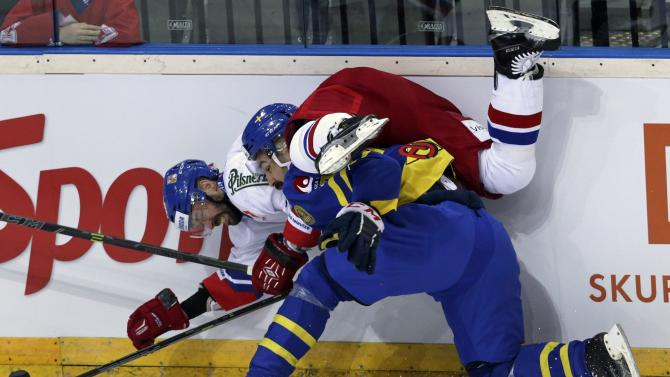 Czech Republic's Klepis collides with Sweden's Rahimi during their Euro Hockey Tour ice hockey match in Prague
