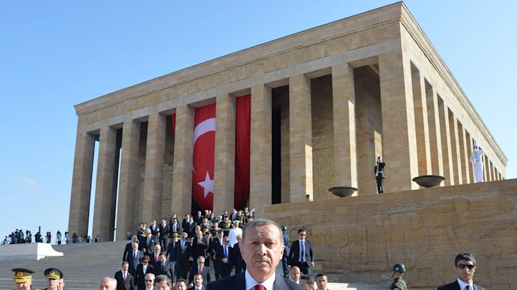 Turkey's President Erdogan attends a ceremony marking the 92nd anniversary of Victory Day at the Anitkabir mausoleum in Ankara