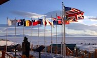 Flags fly outside McMurdo Station, one of three United States research station in Antarctica and the largest.