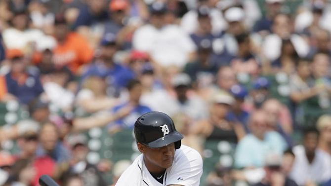 Detroit Tigers' Jefry Marte bats against the Toronto Blue Jays during the eighth inning of a baseball game Sunday, July 5, 2015, in Detroit. (AP Photo/Duane Burleson)