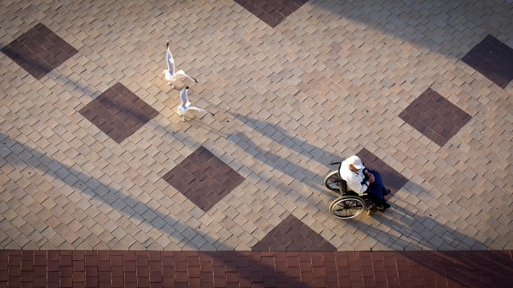 Shadows form at sunset as two seagulls fly next to a man in a wheelchair on the seafront in Duinbergen, Belgium, Saturday, Aug. 23, 2014. (AP Photo/Virginia Mayo)