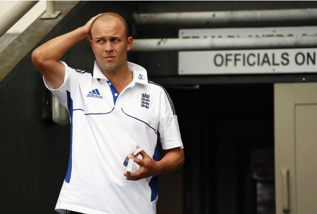 England's Trott walks out of the team dressing room on final day second cricket test against New Zealand in Wellington