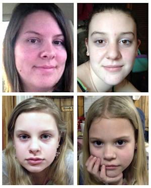 """This combo image made of undated photos provided by the Mississippi Department of Public Safety shows, clockwise from top left, Jo Ann Bain and her daughters, Adrienne, 14, Kyliyah 8, and Alexandria,12. Bain and her daughters may be in """"extreme danger"""" after they were abducted in Tennessee and last seen in Mississippi, but they could be in another state where their suspected kidnapper has connections, authorities said Saturday, May 5, 2012. The Mississippi Highway Patrol issued an Amber Alert on Saturday morning, and Tennessee authorities also have issued an alert.  (AP Photo/Mississippi Department of Public Safety)"""