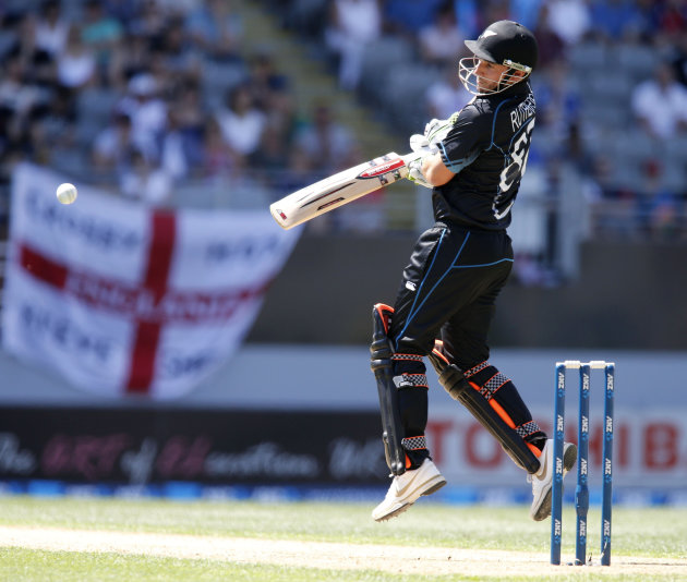 Rutherford of New Zealand plays a shot against England during the final cricket match of their ODI at Auckland