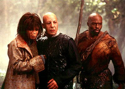 Ari ( Helena Bonham Carter ), Tival ( Erick Avari ) and Gunnar ( Evan Dexter Parke ) in 20th Century Fox's Planet Of The Apes