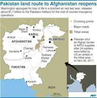 <p>Graphic showing border crossing points between Pakistan and Afghanistan, reopened to NATO supplies after a bitter stand-off between the US and Pakistan over the loss of life in a botched air raid last November. The first trucks supplying NATO troops in Afghanistan crossed the border from Pakistan on Thursday after Islamabad ended a seven-month blockade.</p>