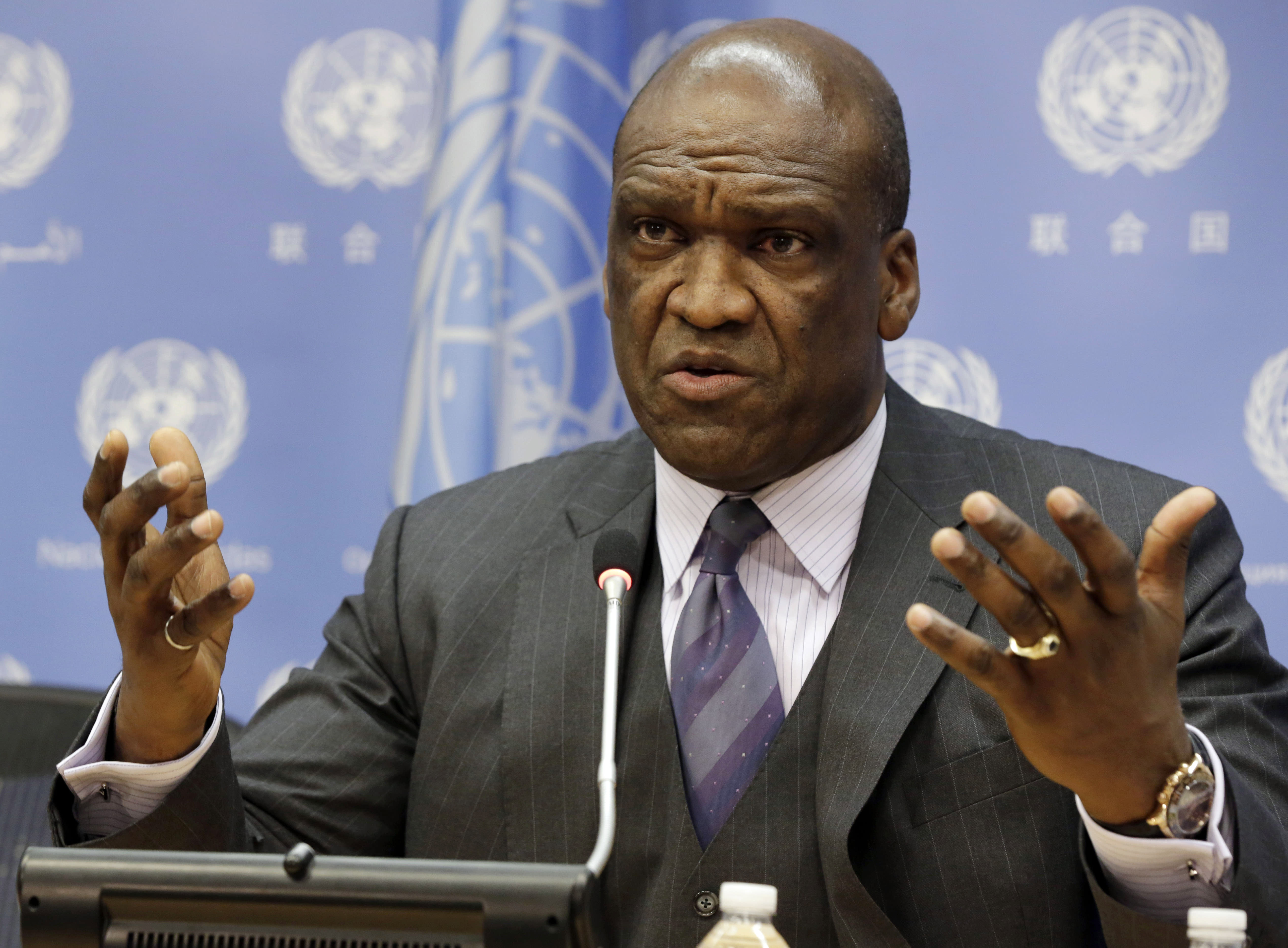 Ex-UN General Assembly head among 6 held in bribery scheme