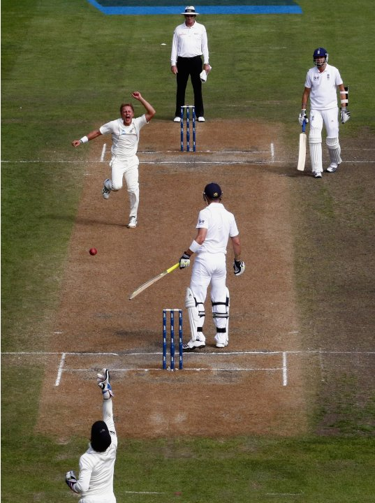 New Zealand's Wagner celebrates with Watling after they dismissed England's Pietersen for 12 runs during fifth day of the first test in Dunedin