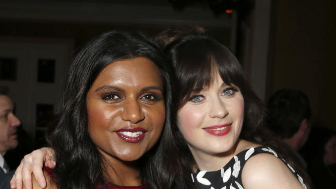 Mindy Kaling and Zooey Deschanel attend the Fox Winter TCA All Star Party at the Langham Huntington Hotel on Tuesday, Jan. 8, 2013, in Pasadena, Calif. (Photo by Todd Williamson/Invision/AP)