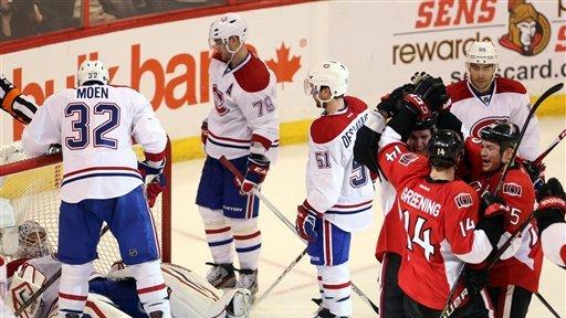 Alfredsson helps Senators rout Canadiens 5-1