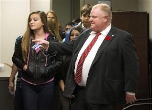 """Toronto Mayor Ford gives children a tour of the office during """"Take Your Kids to Work Day"""" at City Hall in Toronto"""