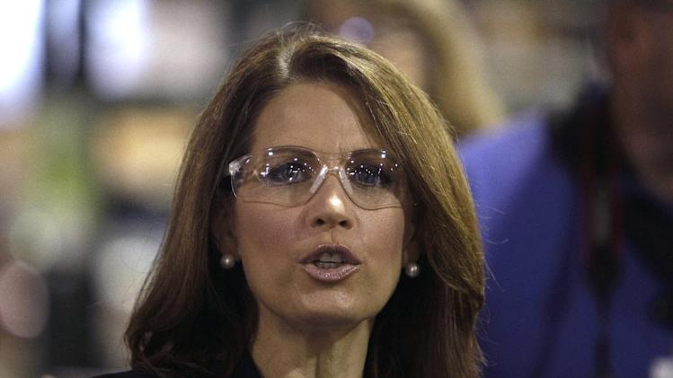 Republican presidential hopeful Rep. Michele Bachmann, R-Minn., speaks during a plant tour at Sukup Manufacturing, Monday, Sept. 19, 2011, in Sheffield. (AP Photo/Charlie Neibergall)