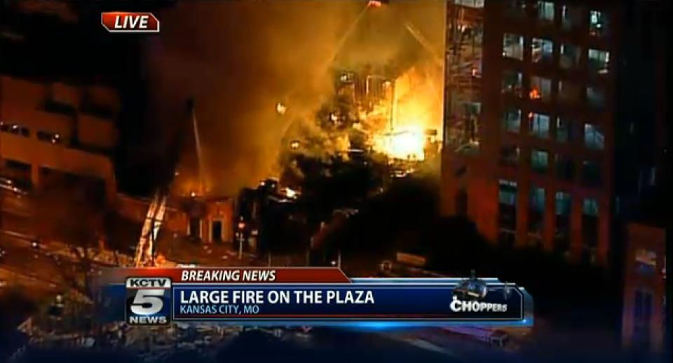 In this image taken from video from KCTV, firefighters battle a massive fire at Country Club Plaza in Kansas City, Mo. Tuesday, Feb. 19, 2013. (AP Photo/KCTV) MANDATORY CREDIT: KCTV