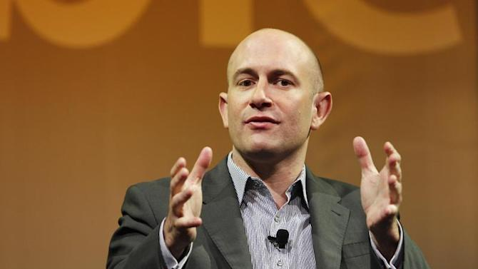 Caraeff, President and CEO of VEVO, gestures as he takes part in a panel discussion at The Cable Show in Boston