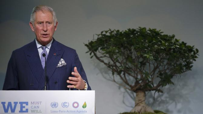 Britain's Prince Charles delivers his speech as he attends the Lima Paris Action Agenda Focus on Forests event during the World Climate Change Conference 2015 (COP21) at Le Bourget