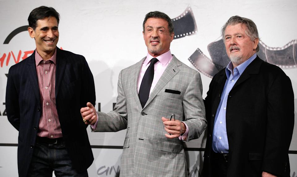 "From left, writer Alessandro Camon, actor Sylvester Stallone and director Walter Hill pose during the photo call of the movie ""Bullet to the Head"" at the 7th edition of the Rome International Film Festival in Rome, Wednesday, Nov. 14, 2012. (AP Photo/Andrew Medichini)"