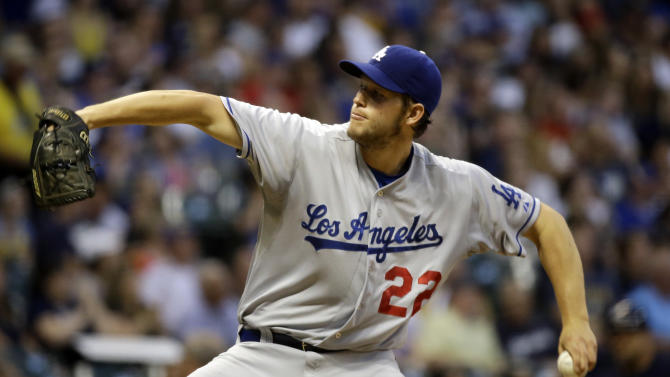 Los Angeles Dodgers starting pitcher Clayton Kershaw throws during the fourth inning of a baseball game against the Milwaukee Brewers Monday, May 20, 2013, in Milwaukee. (AP Photo/Morry Gash)