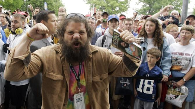 """FILE - In this May 27, 2007, file photo, Rupert Boneham, from the television show """"Survivor,"""" pumps up the crowd before a race at Indianapolis Motor Speedway in Indianapolis.  Former reality TV star Rupert Boneham said he thinks he has a real shot at becoming Indiana's next governor after being nominated as a third-party choice Saturday, March 24, 2012.    (AP Photo/Rob Carr, File)"""
