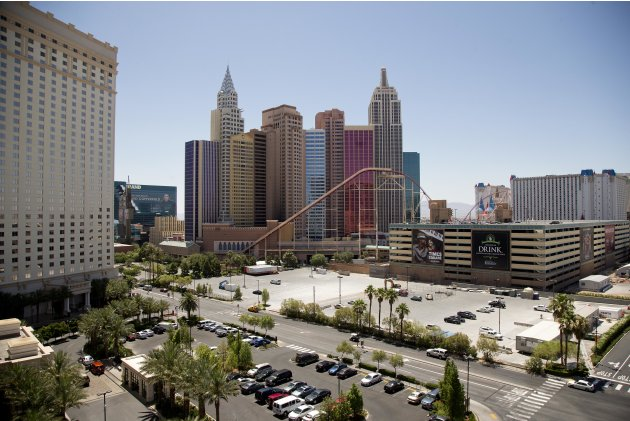 The New York-New York hotel-casino is seen from the Monte Carlo parking garage west of The Strip Tuesday, June 18, 2013, in Las Vegas. Casino giant MGM Resorts International and entertainment company