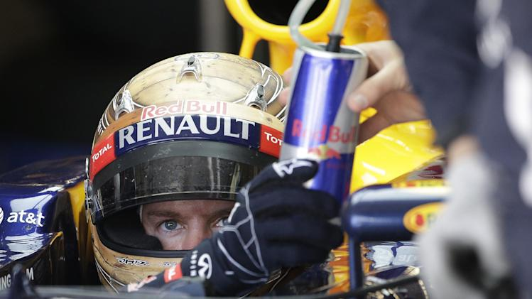 Red Bull driver Sebastian Vettel of Germany hands a drinks to a crew member during the first free practice session for the Formula One's U.S. Grand Prix at the Circuit of the Americas Friday, Nov. 16, 2012, in Austin, Texas. (AP Photo/David J. Phillip)