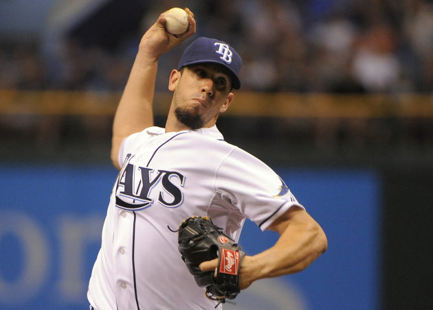 Tampa Bay Rays starting pitcher James Shields delivers to the Miami Marlins during the first inning of an interleague baseball game Saturday, June 16, 2012, in St. Petersburg, Fla. (AP Photo/Brian Blanco)