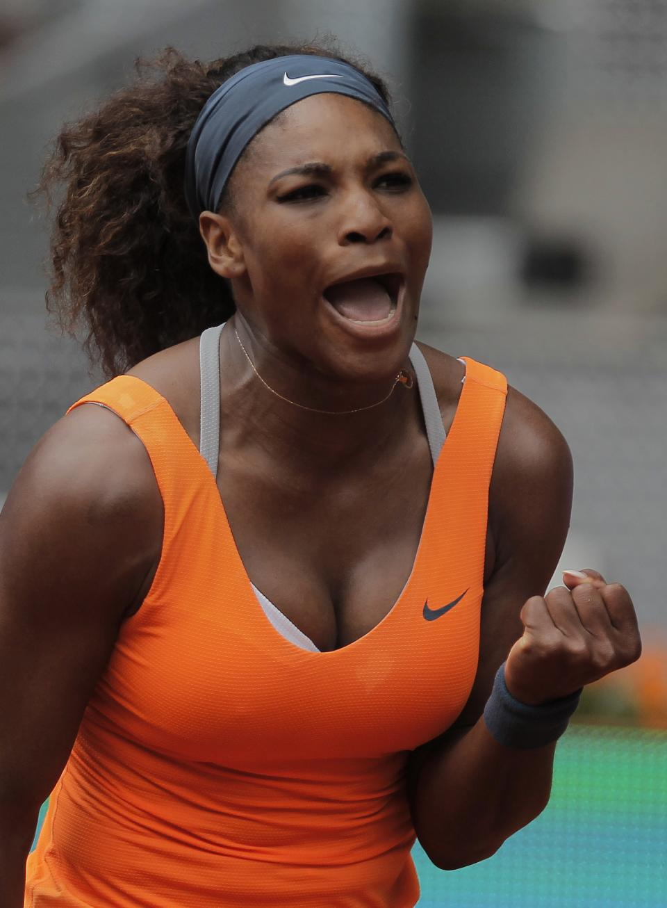 Serena Williams from U.S. celebrates during the match against Lourdes Dominguez Lino from Spain at the Madrid Open tennis tournament, in Madrid, Tuesday, May 7, 2013. (AP Photo/Andres Kudacki)