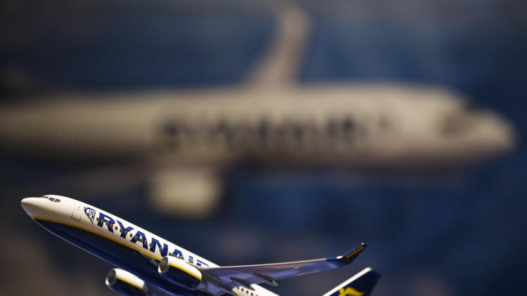 A model airplane rests on a table during an announcement of the commitment for Ryanair to purchase aircraft from Boeing, in New York