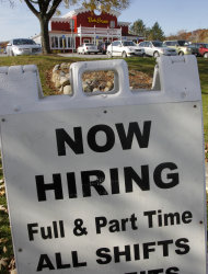<p>               FILE- In this Wednesday, Nov 2, 2011, file photo, the Bob Evans restaurant in Solon, Ohio advertises job openings. The latest evidence that the economy is making steady gains emerges from a gauge of future economic activity, which increased in October at the fastest pace in eight months. A string of better-than-expected reports on the economy have some analysts revising up their forecasts for economic growth. But they caution that their brighter outlook remains under threat from Europe's financial crisis. (AP Photo/Amy Sancetta)