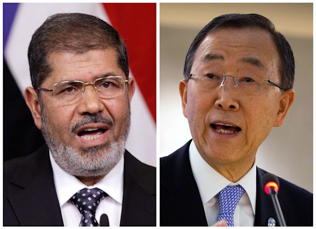 FILE - This combination of file photos shows Egyptian President Mohamed Morsi, left, speaking at the European Union headquarters in Brussels on Sept. 13, 2012, and United Nations Secretary-General Ban