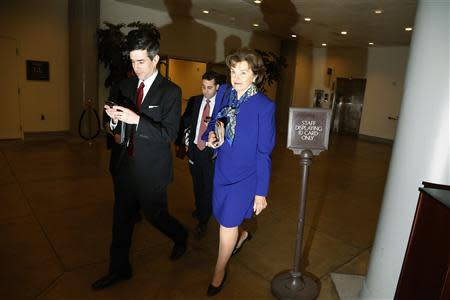 Feinstein returns to her office after a floor speech aimed at the CIA's handling of documents related to the Senate Intelligence Committee, at the U.S. Capitol in Washington