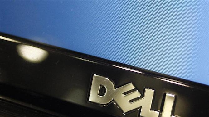 A Dell computer logo is seen on a laptop at Best Buy in Phoenix,