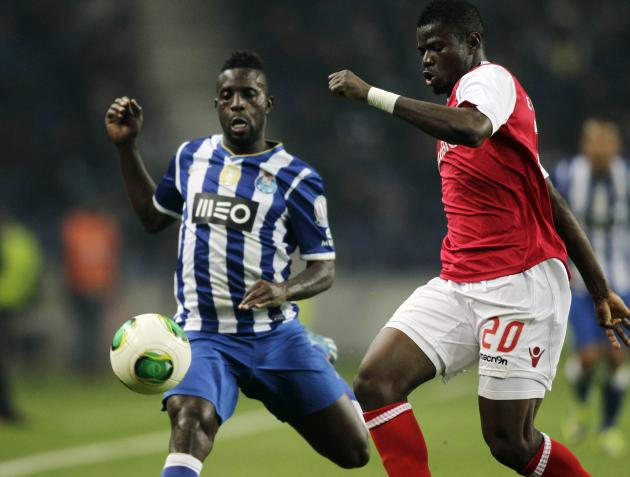 Porto's Varela fights for the ball with Braga's Elderson during their Portuguese Premier League soccer match at the Dragao stadium in Porto