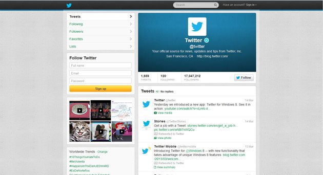 The profile page of Twitter