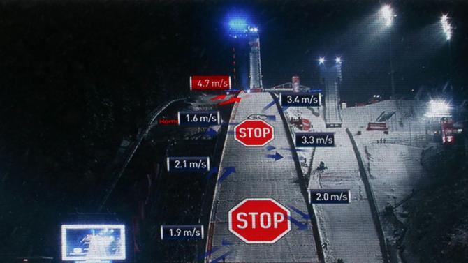 A video wall displays stop signs on the ski jump in Oberstdorf after the first jumping of the 63rd four-hills ski jumping tournament was cancelled due to heavy wind in Oberstdorf