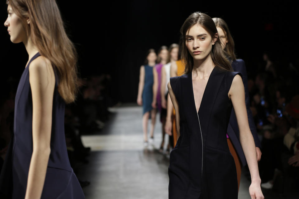The Narciso Rodriguez Fall 2013 collection is modeled during Fashion Week in New York, Tuesday, Feb. 12, 2013. (AP Photo/Seth Wenig)