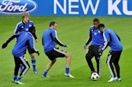 Schalke train in Istanbul on February 19, 2013, on the eve of the UEFA Champions League clash with Galatasaray. Schalke are unbeaten in Europe this season and have been boosted by the return of Dutch striker Klaas-Jan Huntelaar, who is fit again after suffering an eye injury