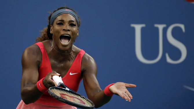 Serena Williams reacts after losing a point to Li Na, of China, during the semifinals of the 2013 U.S. Open tennis tournament, Friday, Sept. 6, 2013, in New York. (AP Photo/David Goldman)
