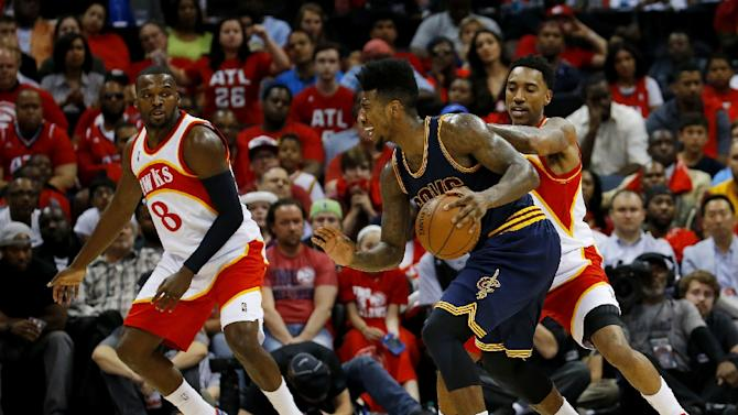 Iman Shumpert of the Cleveland Cavaliers drives against the Atlanta Hawks during Game Two of the Eastern Conference Finals of the 2015 NBA Playoffs at Philips Arena on May 22, 2015 in Atlanta, Georgia